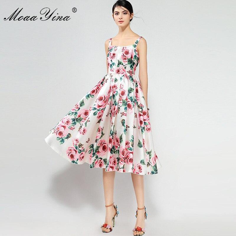 Moaayina 2018 Fashion Designer Runway Dress Summer Women Spaghetti Strap Rose Floral Print