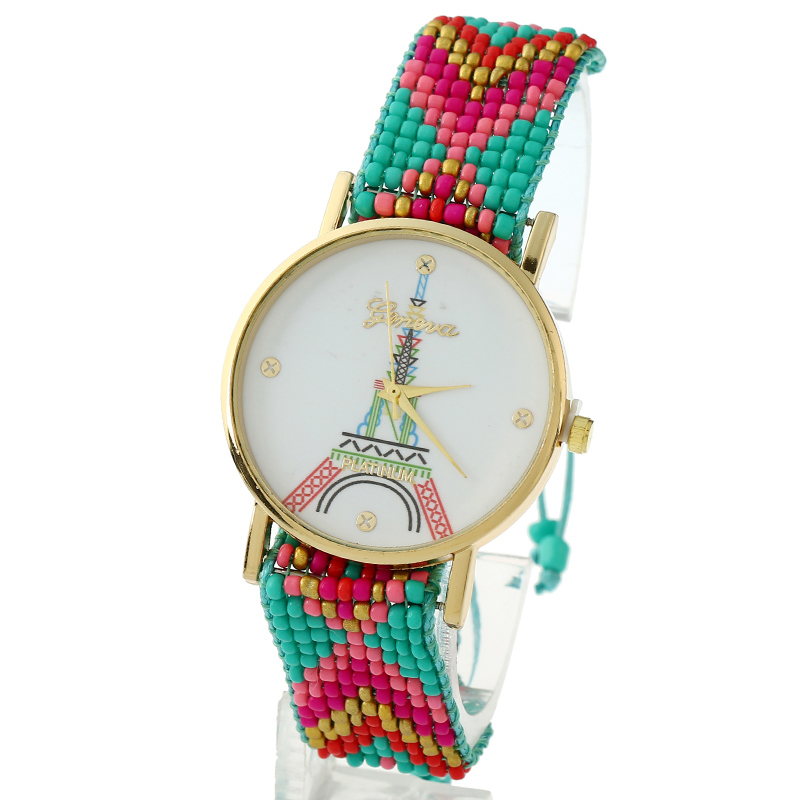 Gnova Platinum Women Watch Paris Eiffel Tower Geneva Style Beach Fashion Wristwatch Girl Ethnic Chaquira Braided Lace A842 beach house paris