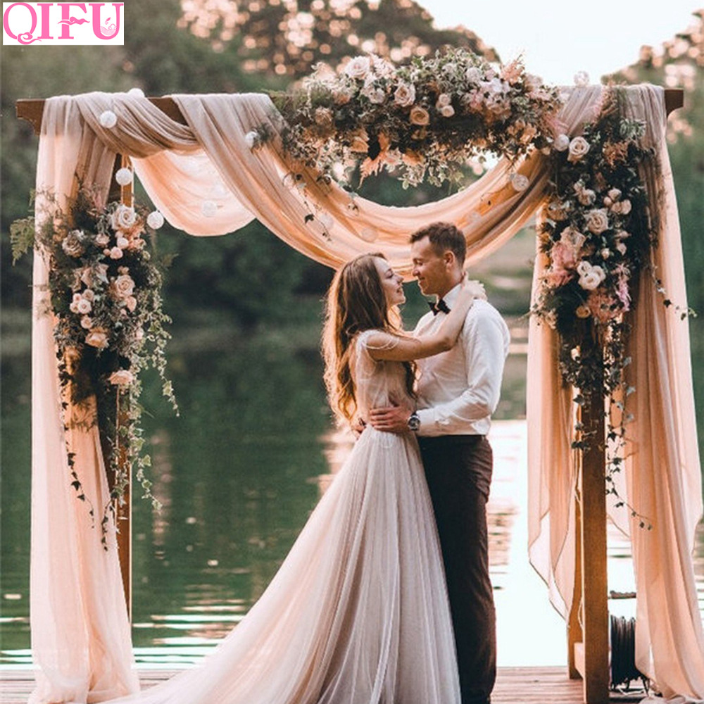 QIFU Yarn Crystal Tulle Organza Wedding Arch Decor Garden Pergolas Garden Arch Decor Wedding Backgro