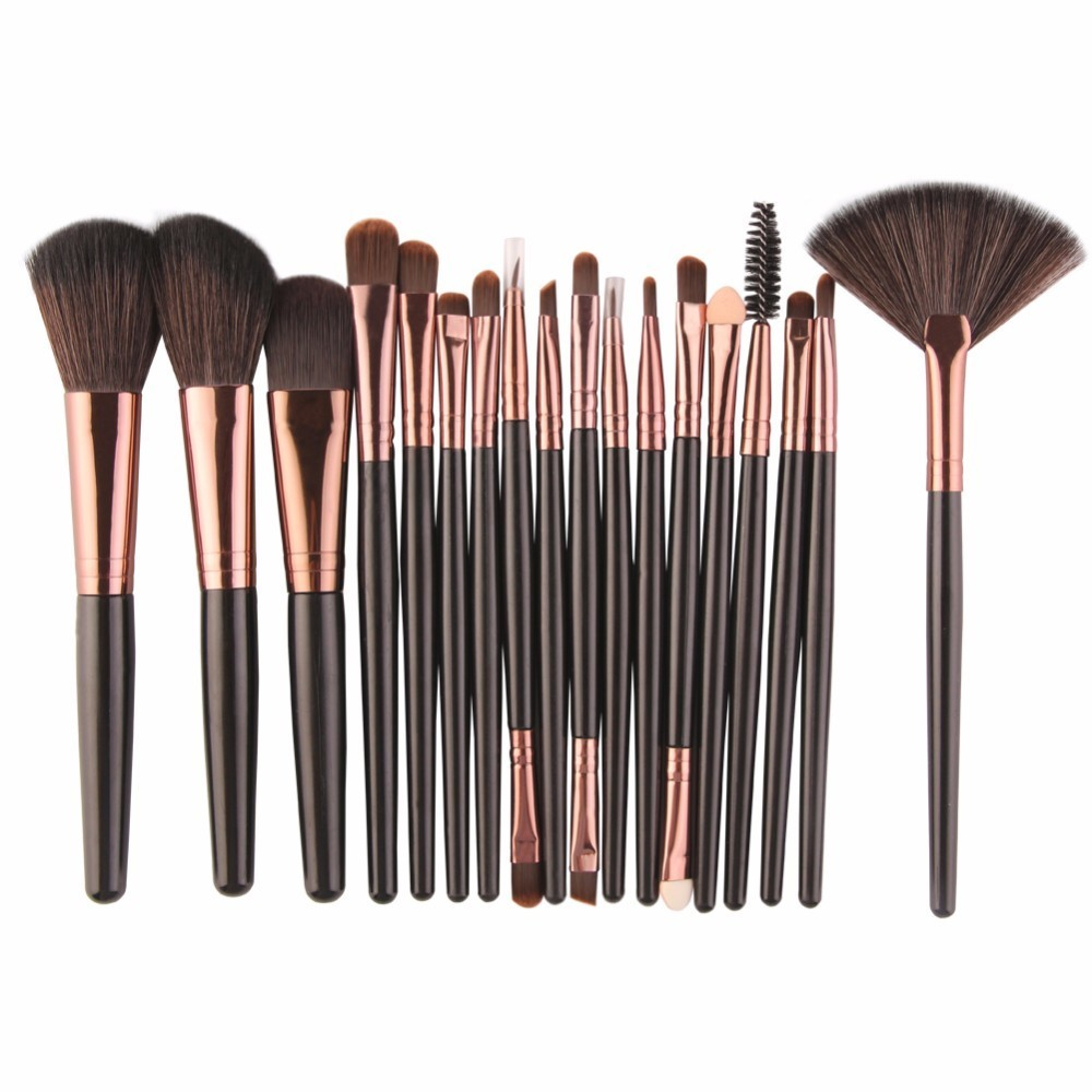 18Pcs/set Makeup Brushes Tools Kit Power Foundation Blush Eye Shadow Blending Fan Cosmetic Beauty Make Up Brush Maquiagem 8pcs rose gold makeup brushes eye shadow powder blush foundation brush 2pc sponge puff make up brushes pincel maquiagem cosmetic