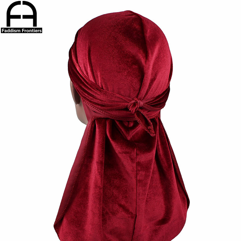 High Quality Men 39 s Velvet Durags Bandana Turban Hat Wigs Doo Men Durag Biker Headwear Headband Pirate Hat Hair Accessories in Men 39 s Headbands from Apparel Accessories