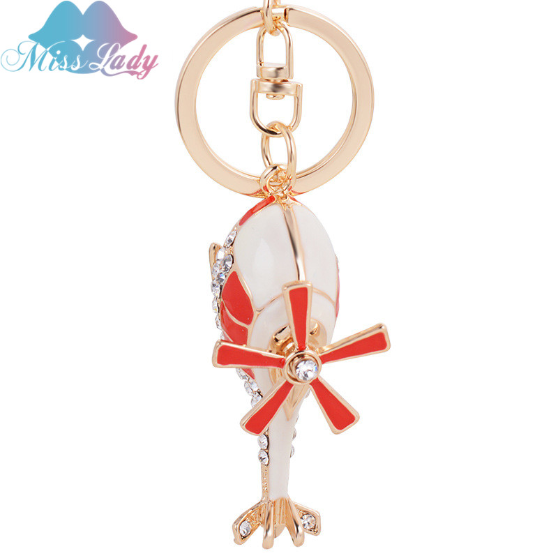 Miss Lady crystal helicopter alloy Keychain creative modeling key Pendant Ornaments Key Chain