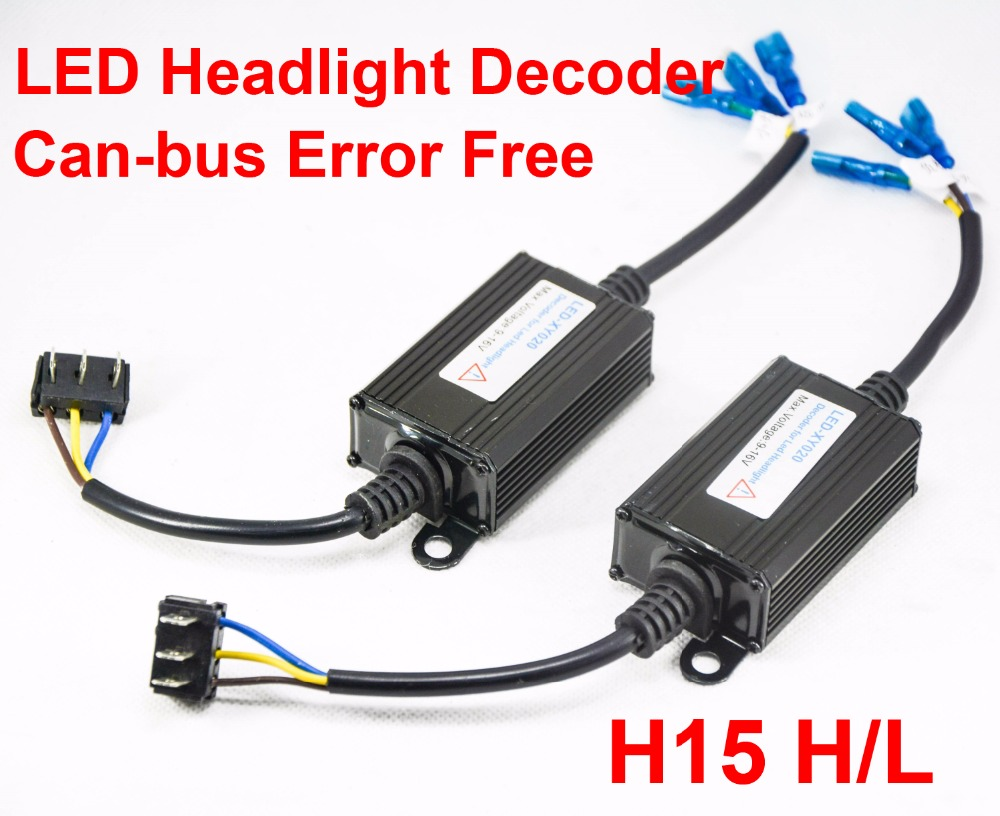 1 Pair H15 LED Decoder Car LED Headlight Warning Canceler Auto Canbus Can bus Error Free