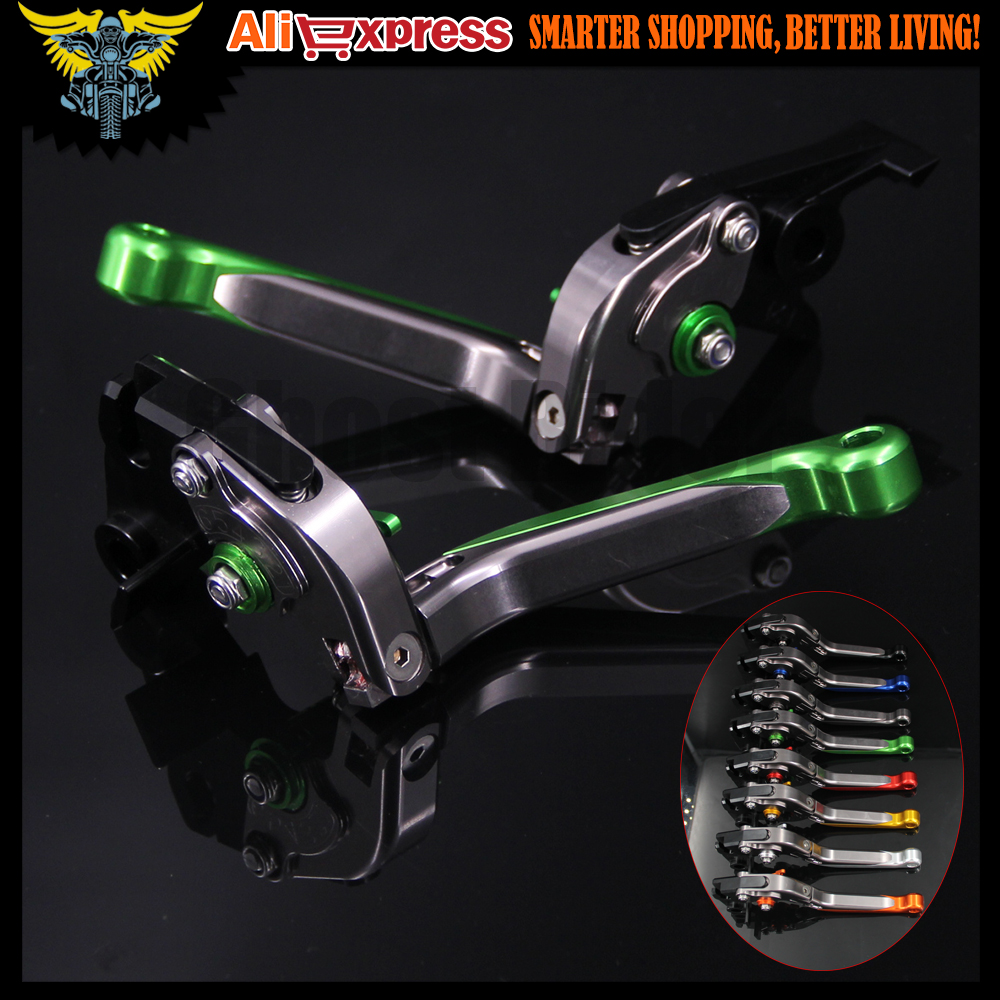 Green+Titanium CNC Adjustable Motorcycle Brake Clutch Levers For Kawasaki ZX-6 1990 1991 1992 1993 1994 1995 1996 1997 1998 1999 8colors brake clutch levers for kawasaki ninja zx750 96 03 zx 750 zx750p zx7r zx 750 1996 1997 1998 1999 cnc clutch brake lever