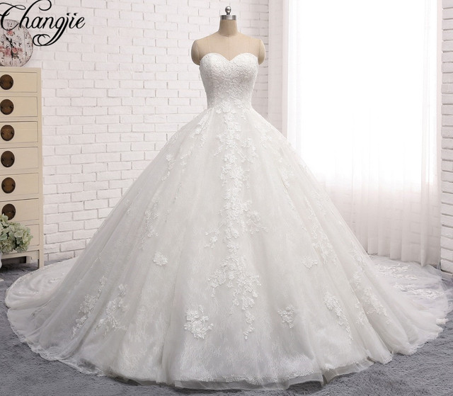 Luxury Ball Gown Wedding Dresses 2017 Princess Style V Neck ...