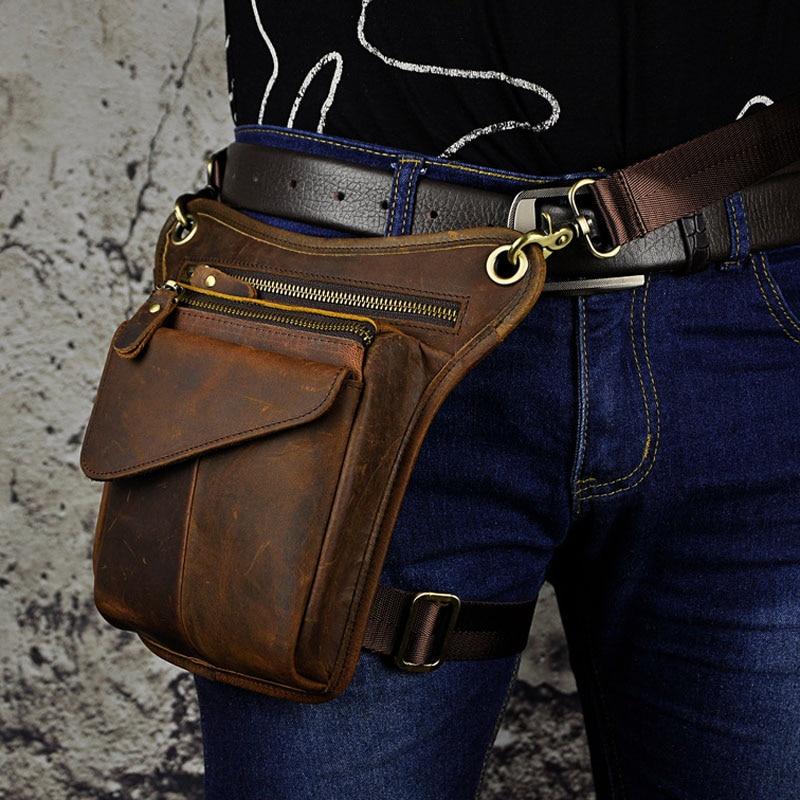 Men's Crazy Horse Genuine Leather Messenger Shoulder Bag Travel Motorcycle Riding Fanny Pack Waist Thigh Drop Leg Bag