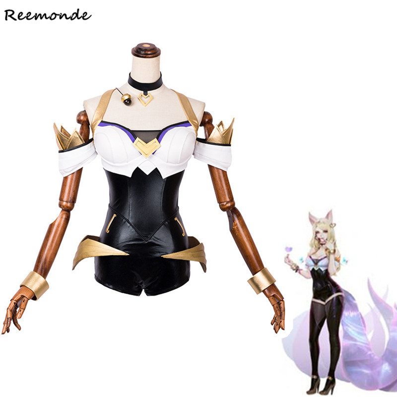 Game LOL KDA Ahri Cosplay Costume Bodysuits Jumpsuits Outfit Full Set LOL K DA Ahri Synthetic