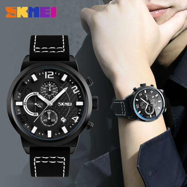 SKMEI Fashion Men Quartz Wristwatches Leather Strap Stopwatch Date Clocks  Business Mens Watches 9149 Waterproof Sports