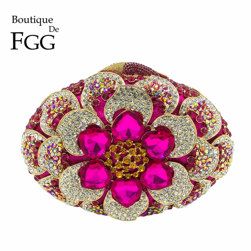 Boutique De FGG Fuchsia Women Crystal Clutch Flower Evening Purse Minaudiere Handbag Wedding Party Bridal Chain Shoulder Bag