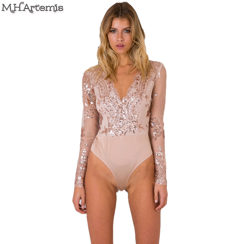 2740137df M.H.Artemis Sequin Lace mesh Sexy Deep v neck Bodysuit Chic Jumpsuit Romper  Bodycon girl shinning embellished pluz size Bodysuit-in Bodysuits from  Women's ...