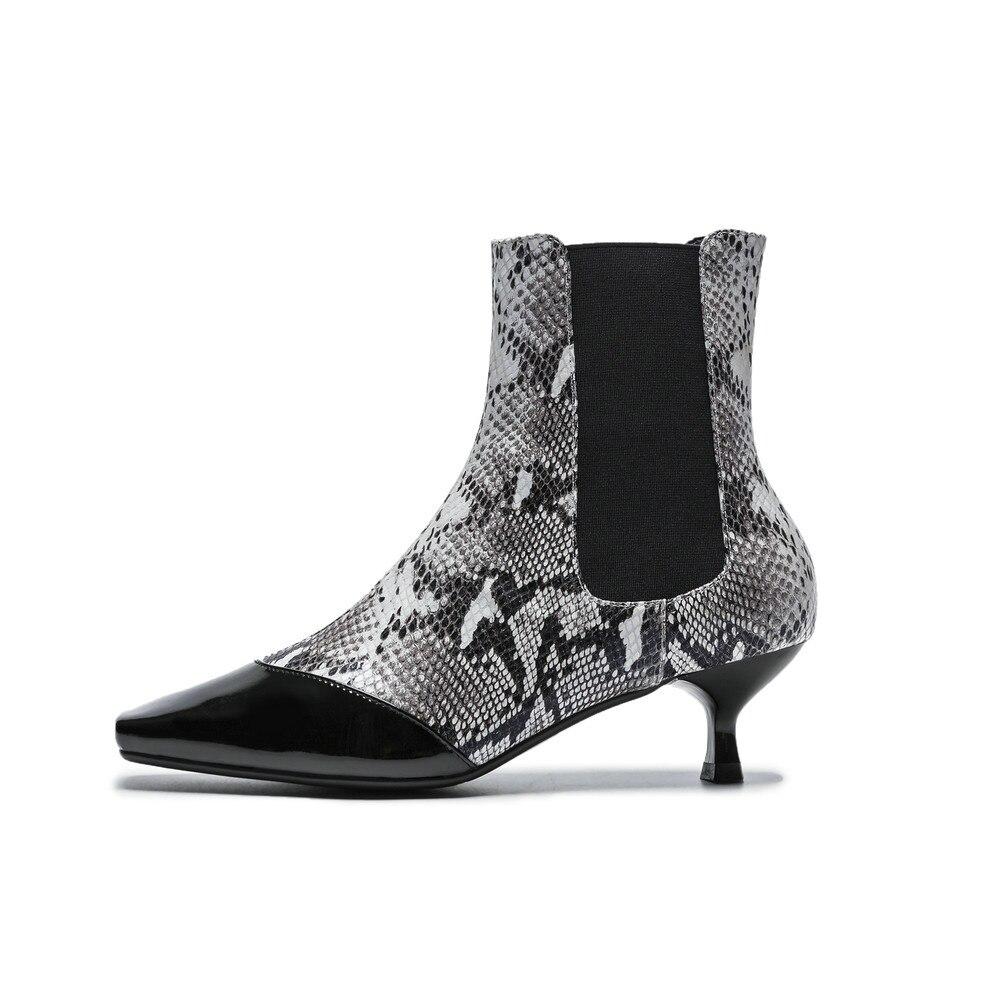 Bottes Chaussures Talon Noir Black Oxford Serpent snake Véritable Imprimer Aiweiyi Cheville Cuir En Slip Casual Chaton Femmes Chaussons Femme On x01Wq6waX