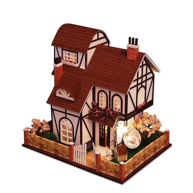 2017 Комплект DIY Dollhouse Миниатюрные Игрушки Масштаб Модели Головоломка Деревянный Дом Куклы, Уникальный Большой Размер Дом Игрушки С Мебелью для Подарка