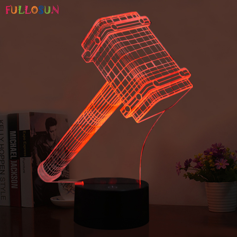 3D LED Illusion Lamp with The Thor Hammer Shape LED 7 Colors Night Lights as Home