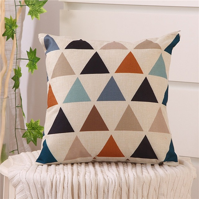 40x40 Nordic Style Geometric Cushion Cover Polyester Pillowcase Cojines Decorativos Para Sofa Home Bedroom Sofa Decor