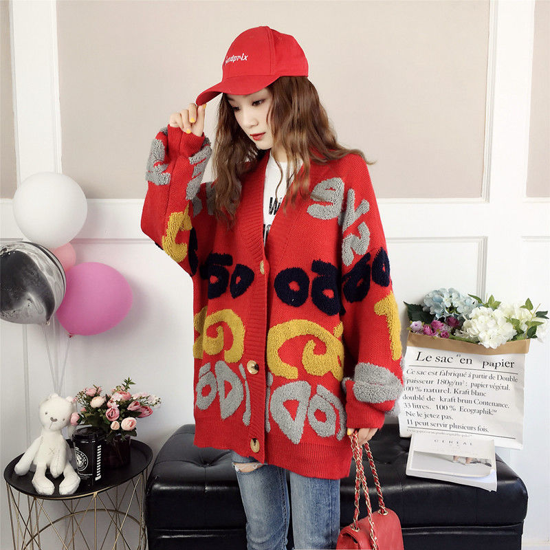 Vangull Women Letter Print Knitted Sweater Spring Autumn New Korean Long Sleeve Single Breasted Thick Fashion Loose Cardigan 2