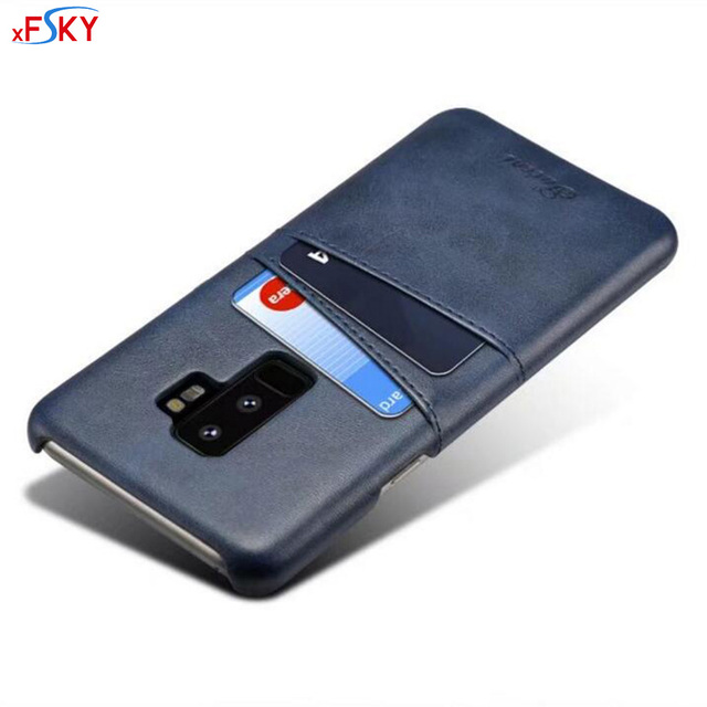 release date: ac676 b5fba US $8.83 |xFSKY Leather Back Case For Samsung Galaxy S9 & S9 Plus Cases  With Card Holder New Fashion Soft PU Protective Cover 5.8/6.2 inch-in  Fitted ...