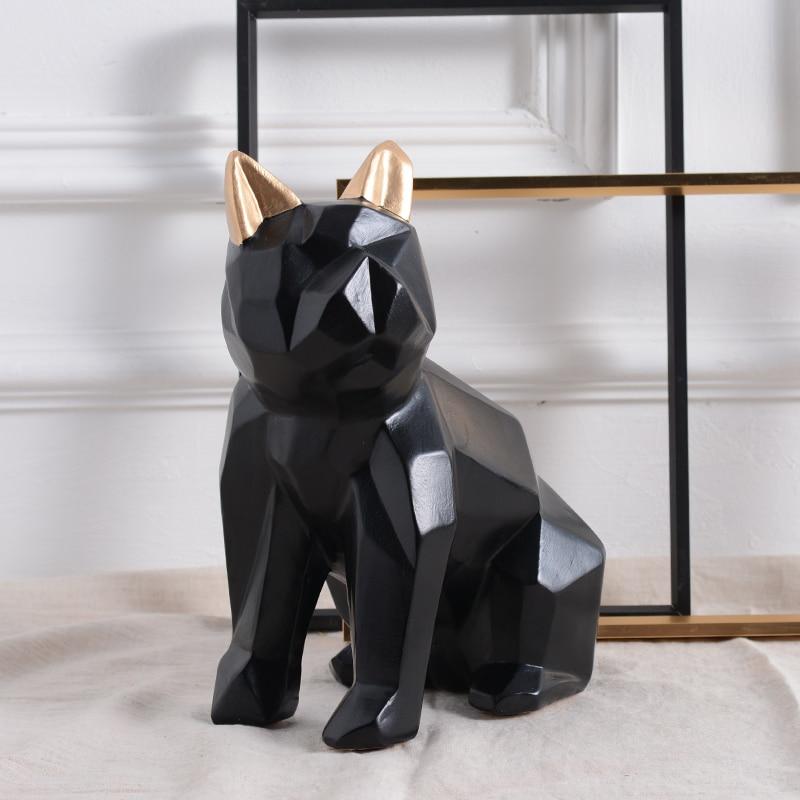 Unique geometric abstract bulldog resin sculpture Creative dog art statue home decor