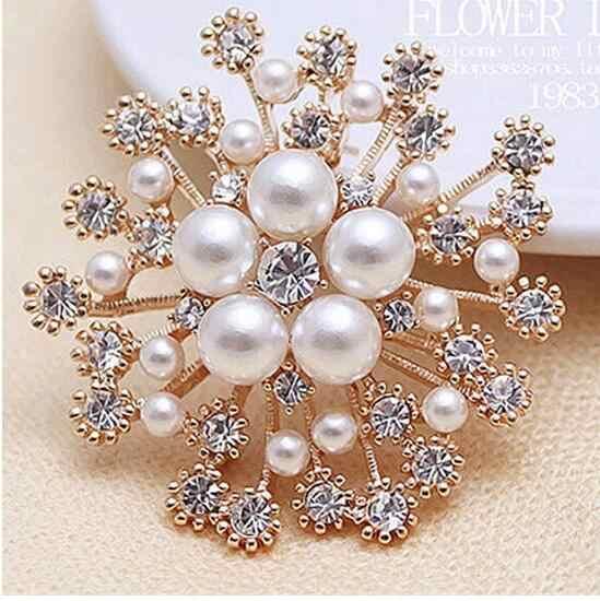 Natal Berlian Imitasi Kristal Bridal Pernikahan Kepingan Salju Kue Buket Bunga Bros Pin Halus Fashion Perhiasan Hadiah Dropship