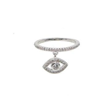 Claro cz mal de ojo anillos para mujer Cubic Zirconia anillo hembra con pendientes del encanto del ojo joyería Regalos para la decoración