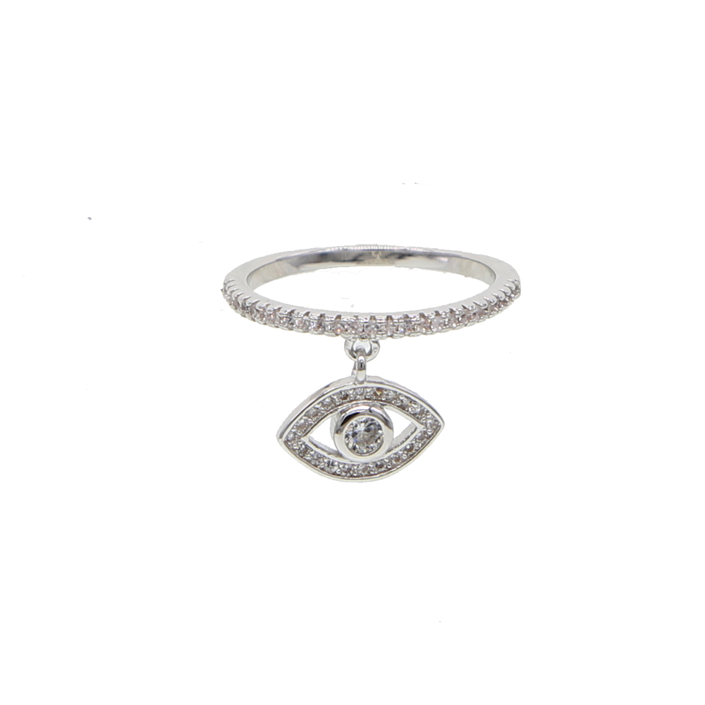 clear cz Evil Eye Rings for Womens Cubic Zirconia Female Ring with dangle Eye charm Jewellery Gifts for the Decorating