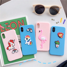 Cute Stereoscopic Unicorn Flamingo case for iphone 7 8 6 6s plus butterfly cactus candy soft cover xr x xs max fundas