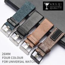 26mm Nylon Leather Universal Watchband Watch Strap Band For Diesel DZ4318 DZ4345 DZ4354 Man Bracelet Stitching Stainless Steel