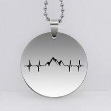 """Нержавеющая сталь """"кардиограмма сердца кулон"""" Гора """"Цепочки и ожерелья природа мотивация ювелирные изделия Пеший туризм для катания на сноуборде подарок YLQ6241"""