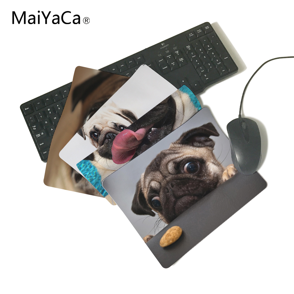 funny animals pug wallpaper Gaming Rectangle Silicon Durable Mouse Pad Computer Mouse Mat