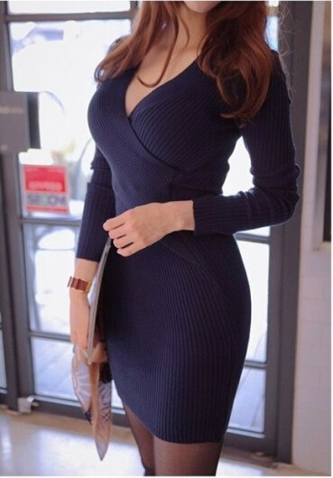 Women-Casual-Dress-Summer-Vestidos-2016-New-Autumn-Spring-Fashion-Style-Deep-V-Neck-Knitted-Sexy (3)