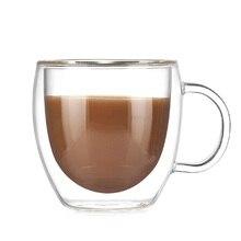 купить Transparent Drinkware Coffee Cups Tea Set Mugs Beer Drink Office Mug Double Glass Cup Simple style Tea Cup Creative Gift X дешево