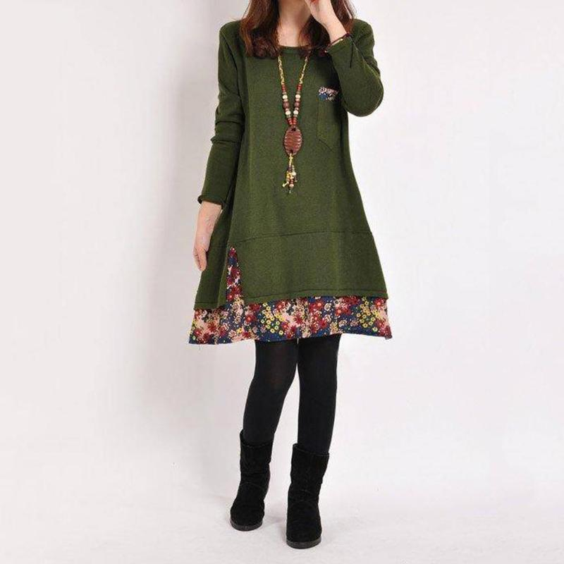 Floral Stitching Autumn Women Bottoming Loose High Waist Casual Long Sleeve O-Neck A-Line Dresses Girls Sweet Lovely Dress