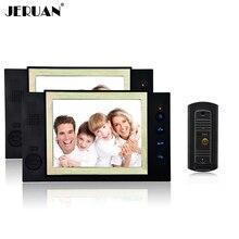 JERUAN pantalla de 8 pulgadas video de la puerta teléfono con cámara de INFRARROJOS sistema de grabación de vídeo y tomar fotos 1 Cámara 2 monitores