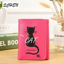 Women Wallets Small Fashion Brand Leather Purse Ladies Card Bag Cat Women Clutch Women Female Purse Money Clip Wallet 357