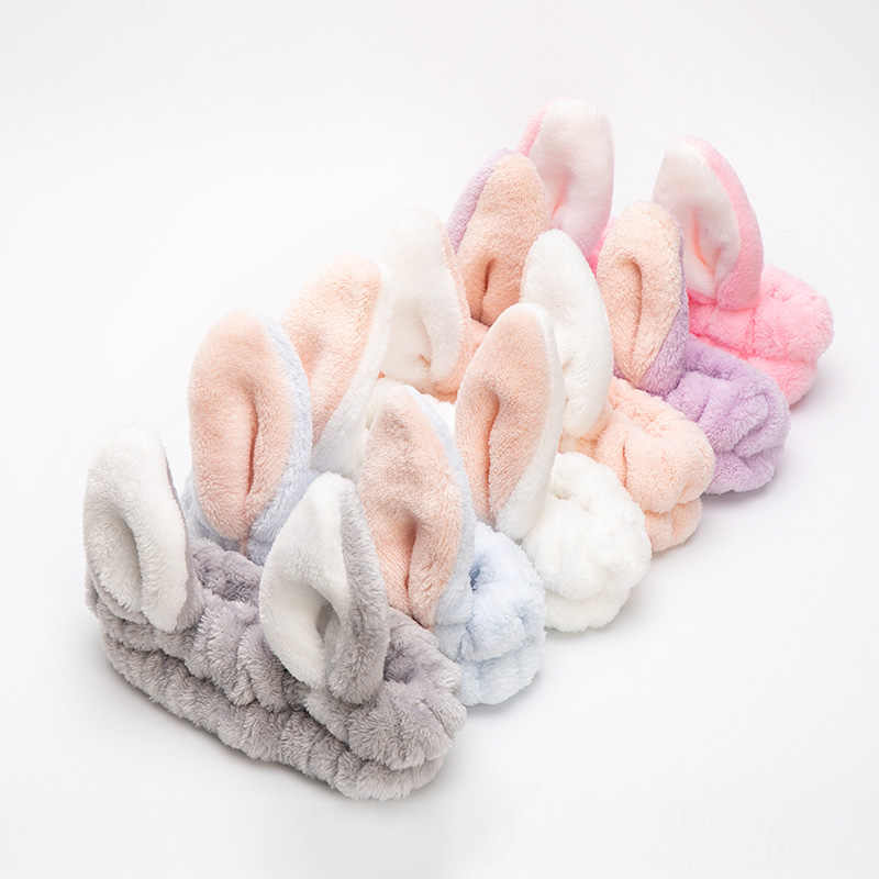 Эластичные женские головные повязки с заячьими ушками для мытья лица, для спа, ванны, душа, для макияжа, головной платок, мягкие аксессуары для волос