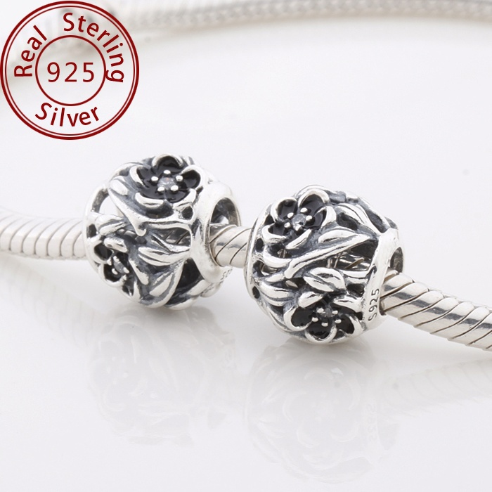 c87aef131 Spring Mystic Floral Charm With Black Enamel 925 Sterling Silver Openwork  Flower Charms For Women Bracelets DIY Jewelry Making-in Charms from Jewelry  ...
