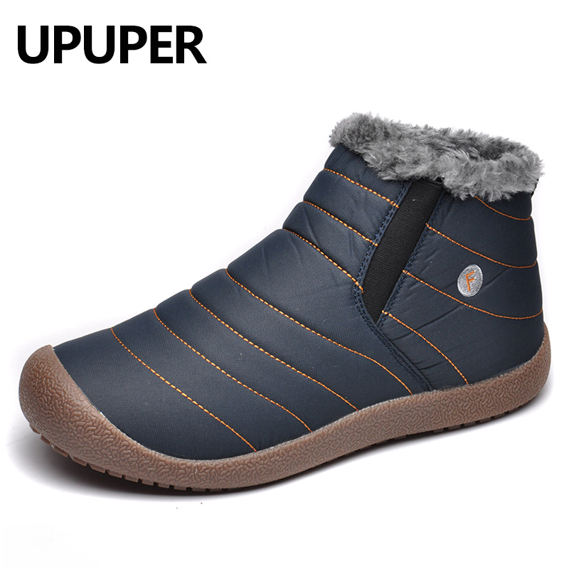 UPUPER Waterproof Men Winter Snow Boots Shoes Men Lightweight Ankle Boots Plush Warm Slip-On Mens Rain Boots Big Size 38-47 club lace up genuine leather men boots snow winter warm plush causal flats shoes mens waterproof ankle boots plus size 37 47