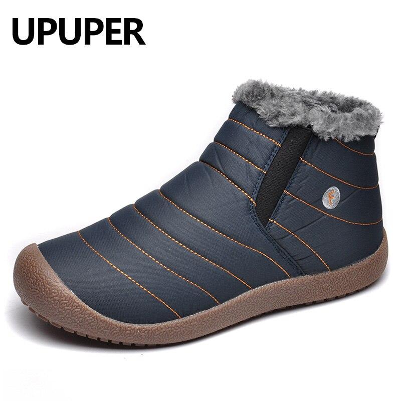 UPUPER Waterproof Men Winter Snow Boots Shoes Men Lightweight Ankle Boots Plush Warm Slip-On Mens Rain Boots Big Size 38-47