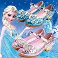 2016 new Disney Frozen Anna/Elsa princess girls shoes Children Princess High-heeled shoes Crystal frozen BJD doll Fitting
