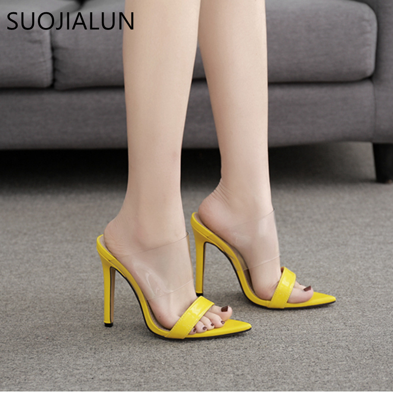 2019 Women Summer Slippers Sexy High Heel Sandals Fluorescent Transparent Pointed Toe High Heel Flip Flops Party Slides Sandals in Slippers from Shoes
