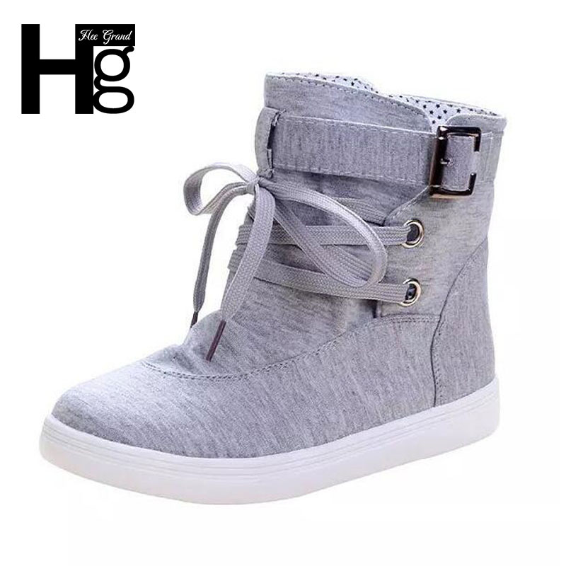 HEE GRAND Spring Autumn Ankle Boots 2016 Solid Buckle Canvas Women Boots High Top Shoes Woman XWX1524
