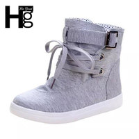 Spring Autumn Ankle Boots 2015 Solid Buckle Canvas Women Boots High Top Sneakers Woman Shoes XWX1524