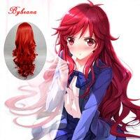 Bybrana 80 см длинные волнистые красный парик для Для женщин синтетические термостойкие Волокна русалка костюмы Косплэй волосы парик