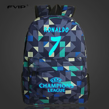 FVIP 7 Bag Cristiano Ronaldo Lumious Backpacks For Teenagers Boys Girls Nylon Laptop School Backpack Female