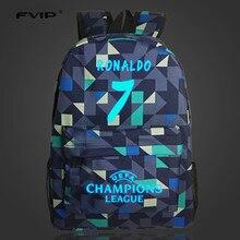 Fvip 7 # bolsa de cristiano ronaldo lumious mochilas para adolescentes niños niñas de nylon bolso femenino morral de la escuela del ordenador portátil