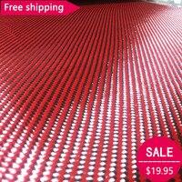 Бесплатная доставка углерода Кевлар арамидная волокнистая ткань красный кевлар и 3 К углеродного волокна смешанная ткань 27