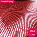 Envío libre de Carbono tela De fibra de Aramida Kevlar Kevlar Rojo y 3 K de fibra de Carbono de Tejido mezclado 27 /70 cm de ancho 2x2 Sarga 200gsm 1100D