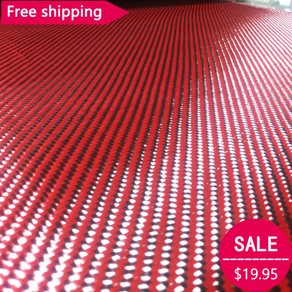 Free shipping Carbon Kevlar Aramid талшықты мата Red Kevlar & 3K көміртекті талшық аралас мата 27 «/ 70cm wide 2x2 Twill 200gsm 1100D