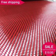 "Free shipping Carbon Kevlar Aramid fiber cloth Red Kevlar & 3K Carbon fiber mixed Hybrid Fabric 27"" / 70cm wide 2x2 Twill 200gsm"