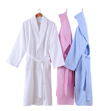 Kimono Robe Women Bathrobe 100% Cotton Nightrobe New Long Sleeves Solid Fashion Womens Bride Robes White Pink Blue