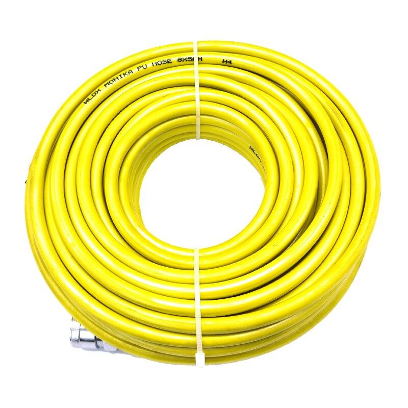 8mm x 5mm recta PU manguera transparente/amarillo/rojo 15 M compresión de aire tubo con Metal acoplamiento rápido